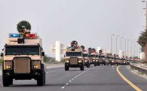 Saudi troops arrive in Bahrain on Monday, March 14, 2011. A Saudi-led military force crossed into Bahrain with Canadian-supplied light armored vehicles to suppress a movement for a representative parliamentary democracy.    APA /Landov