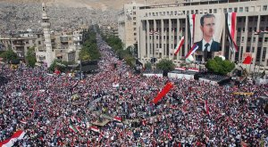 Syrians rally for Assad,  October, 2011.